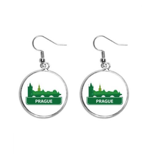 Prague Czech Republic Green Landmark Ear Dangle Silver Drop Earring Jewelry Woman