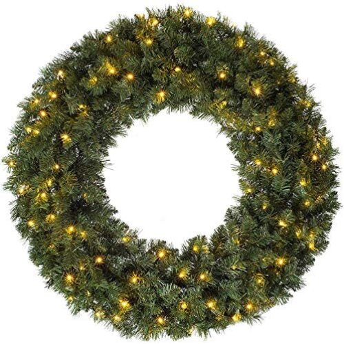CGC 80cm Luxury Extra Large Pre lit LED Green Christmas Wreath Indoor or Outdoor