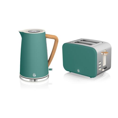 2pc Swan Nordic Toaster & Kettle Set - Pine Green