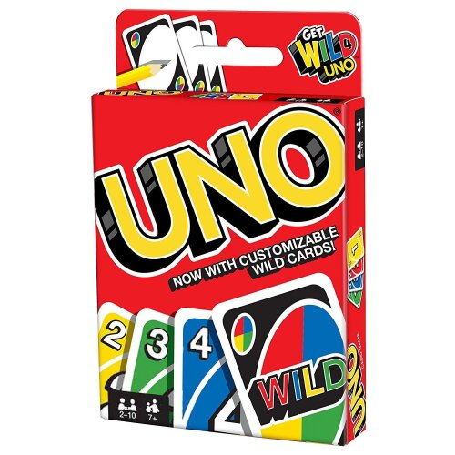 UNO Indoor Family Party Playing Card Game Customizable with Wild Cards