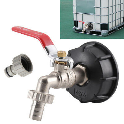 """IBC Adapter S60X6 Tank Cap with Brass Tap & 1/2"""" Snap On Connector Tote Tank"""