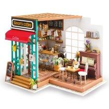 Imagine 3D DIY House Model Coffee Shop Kit Miniature LED Light Dolls House Build