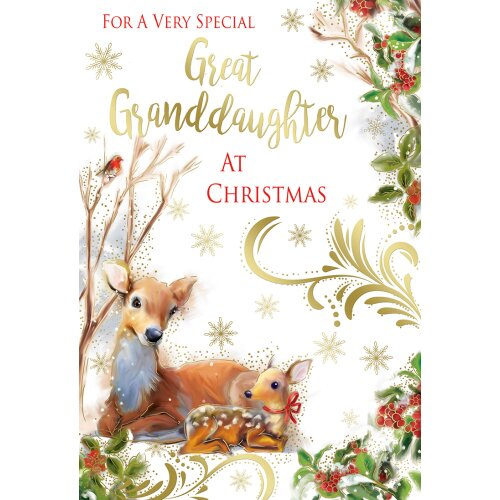A Very Special Great Granddaughter Deer & Fowl Design Christmas Card Lovely Verse