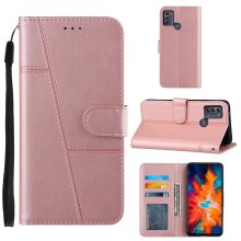 Motorola Moto G50 Case Cowhide Texture Leather Case with Card Slots Pink