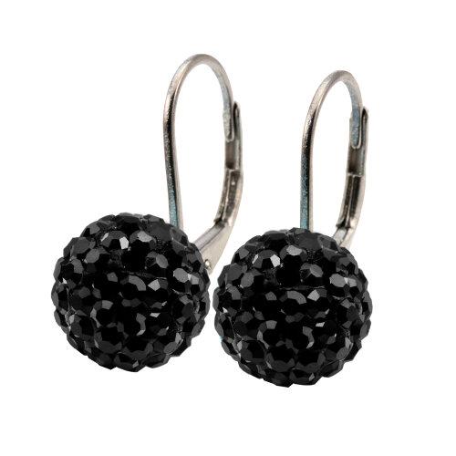 Tresor Paris Black 6mm Crystal Drop Titanium Earrings 017937