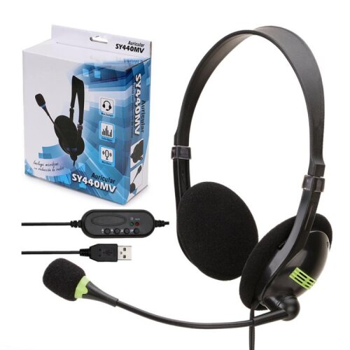 USB Headset With Microphone for PC Multi-Key Control 3.5mm Call Center Wired Headphones HD Microphone