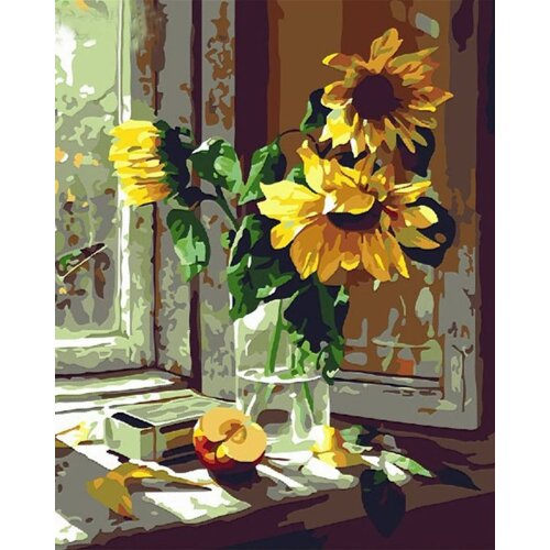 Paint by Numbers Kits with Brushes and Acrylic Pigment DIY Canvas Painting for Adults Beginner- Warm Sunflower 16 x 20 inch(Without Frame)