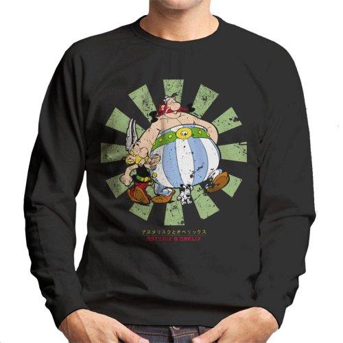 (XX-Large, Black) Asterix And Obelix Retro Japanese Men's Sweatshirt