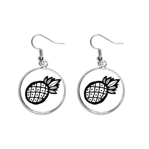 Black Pineapple Line Drawing Fruit Ear Dangle Silver Drop Earring Jewelry Woman