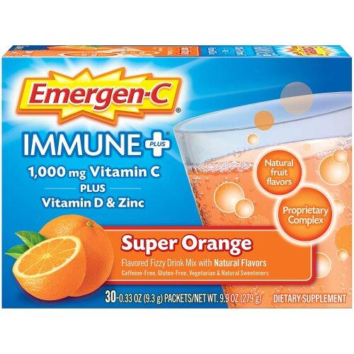Emergen-C Immune Plus 1000 mg Vitamin C + Vtiamin D & Zinc - Super Orange - 30 pk