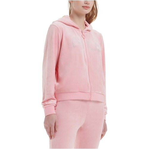 Fila Laurel Velour Diamonte Zip Hoodie Candy Pink