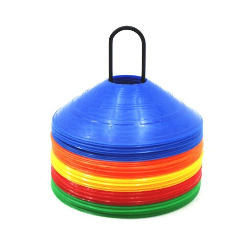 Oypla 50x Multi Coloured Football Rugby Sports Training Markers Discs Cones w/ Stand