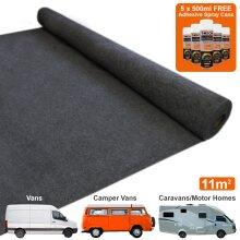 11m2 Van Lining Carpet Super Stretch Adhesive Glue Cans Kit Camper Anthracite Dark Grey