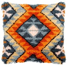 """Latch Hook Complete Cushion Cover Kit """"Orange and Grey Abstract"""""""