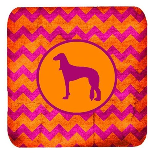Saluki Chevron Pink And Orange Foam Coasters, Set Of 4