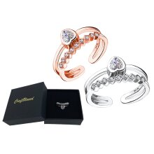 Craftuneed adjustable rings rose gold silver plated heart shape faux diamond ring