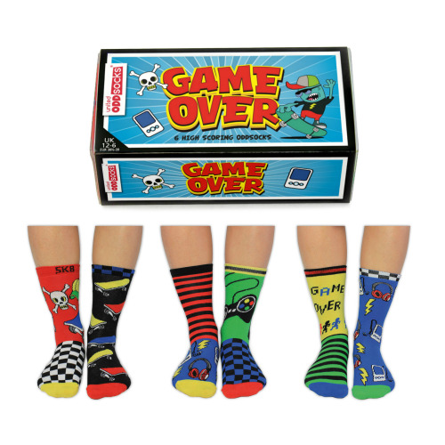 United Oddsocks Game Over Bright Funky Multicoloured Socks UK 12-6