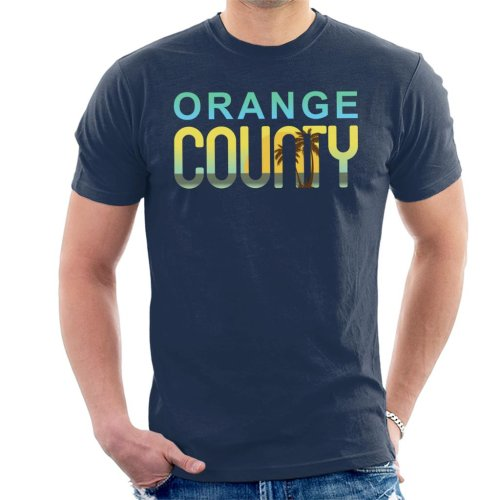 (Medium, Navy Blue) Orange County Sunset Silhouette Men's T-Shirt