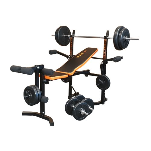 V-fit STB09-2 Folding Weight Bench & 50kg Weight Set