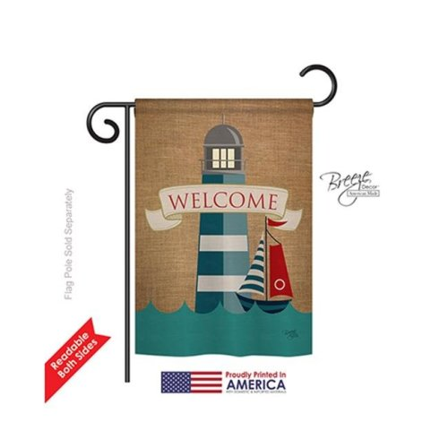Breeze Decor 57046 Beach & Nautical Lighthouse & Sailboat 2-Sided Impression Garden Flag - 13 x 18.5 in.