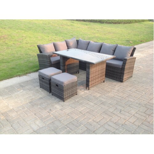 8 Seater High Back Rattan Corner Sofa Dining  Table With Stools Grey