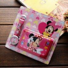 New Children Cartoon Wallet Watch Set Spiderman Mickey Minnie Students Birthday Gifts Quartz Leather