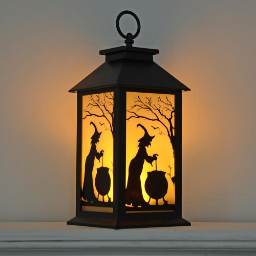 30cm Black Light Up Halloween Lantern With Witch and Cauldron Design