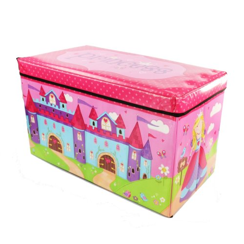 (Princess) Boys Girls Kids Large Folding Storage Toy Box Books Chest Clothes Seat Stool