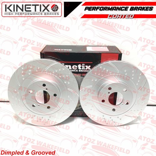 FOR SUBARU IMPREZA 2.0 WRX STi FRONT DIMPLED GROOVED BRAKE DISCS 326mm 100pcd