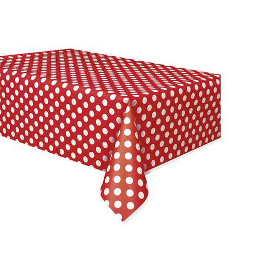 (One Size, Ruby Red/White) Unique Party Polka Dot Plastic Tablecover