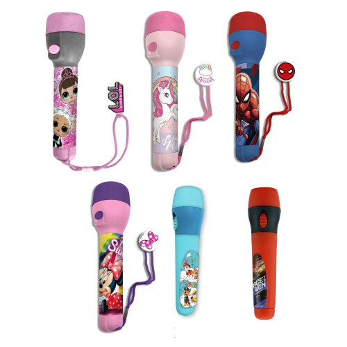 Kids LED Flash Light Torch For Characters Lovers Bright Night Toy Xmas Gift