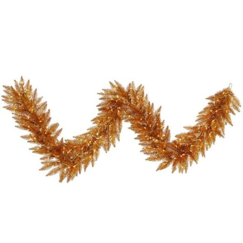 Vickerman K167215LED Copper Dura-Lit Garland with Warm White LED Lights, 9 ft. x 14 in.
