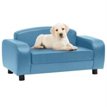 vidaXL Dog Sofa Turquoise Faux Leather Pet Cat Couch Animal Soft Bed Supply
