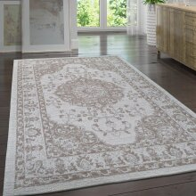 Vintage Oriental Rug 100% Cotton Cream Taupe Brown Small Extra Large Washable Border Pattern Area Mat