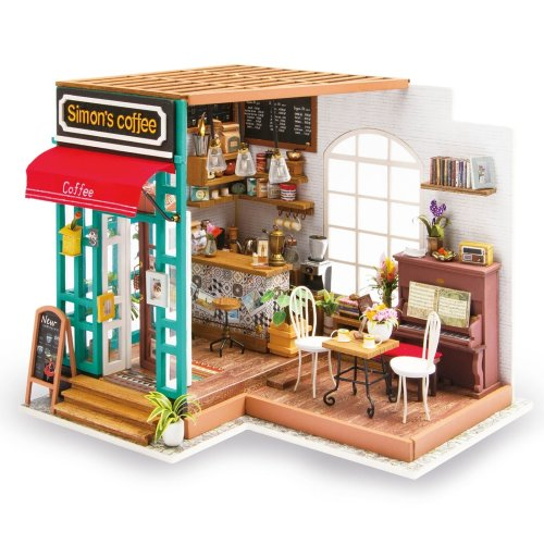 Imagine 3D DIY House Model Coffee Shop Kit Miniature LED Light Dolls House Build