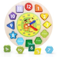 Shape Sorting Clock Wooden Teaching Clock Learning Puzzle Educational Toys with Numbers & Shapes Games
