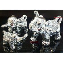 SET OF 3 Silver & Crushed Diamond Elephant Family Sparkling Ornaments