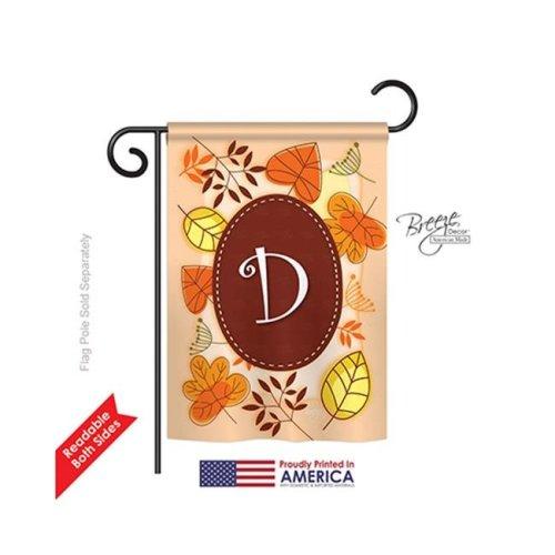 Breeze Decor 80030 Autumn D Monogram 2-Sided Impression Garden Flag - 13 x 18.5 in.
