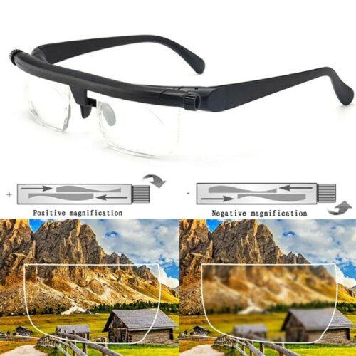 Lens Dial Adjustable Glasses Variable Focus Reading Distance Vision Eyeglasses