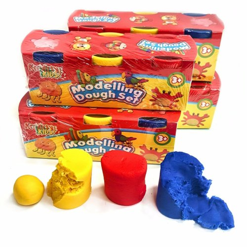 4 Packs of 3 Modelling Dough Tubs - Red Yellow and Blue - Fun Childrens Activity