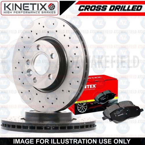 FOR NISSAN 370Z Z34 FRONT SPORTS CROSS DRILLED BRAKE DISCS MINTEX PADS 355mm