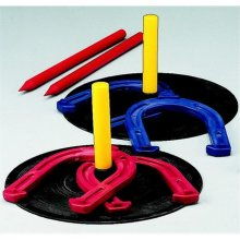 Champion 025486 Indoor&Outdoor Horseshoe Game, Set Of 4 Plastic Horseshoes, 2 Rubber Mats And 2 Stakes