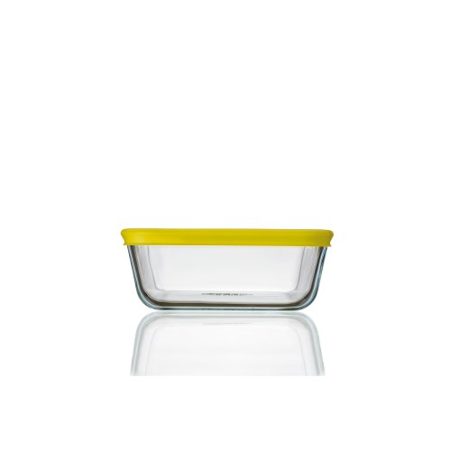 Pyrex Cook n Fresh - Square Storage Dish with Yellow Plastic Lid - 0.85L (Dimensions: L15 x W15 x H6 cm)
