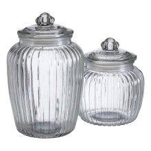 Set Of 2 Fluted Vintage Design Glass Storage Jars, Clear