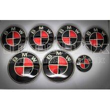 modifix_co_uk BMW CARBON Black & Red Emblem Bonnet Badge Set 7pcs Front Rear Wheel Caps Steering Decal Genuine Modified