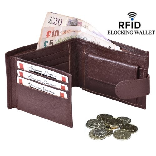 (Brown) Leather Wallets for Men With RFID Card Protector