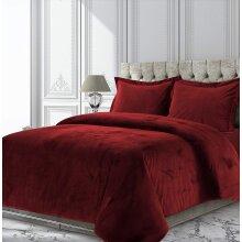 Luxury Velvet Duvet Cover Set With Pillowcase Burgundy