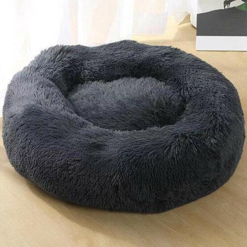 (Dark Grey, 60cm) Plush Donut Pet Bed For Dogs & Cats | Dog Basket