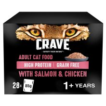28 x 85g Crave Grain Free 1+ Adult Wet Cat Food Pouches Salmon & Chicken in Loaf