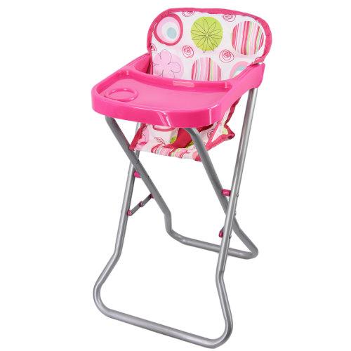 The Magic Toy Shop Dolls Feeding High Chair Folding Metal Frame Dolls Furniture Pretend Play Toy
